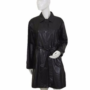 Rodier Black Leather Trench Coat Sz M(SKU 000104)